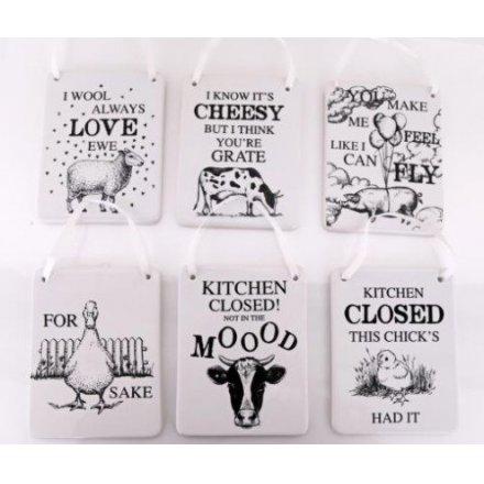 Porcelænsskilt med dyr
