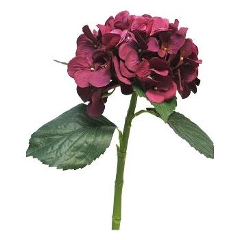 Kunstig blomst, mørkerød Hortensia