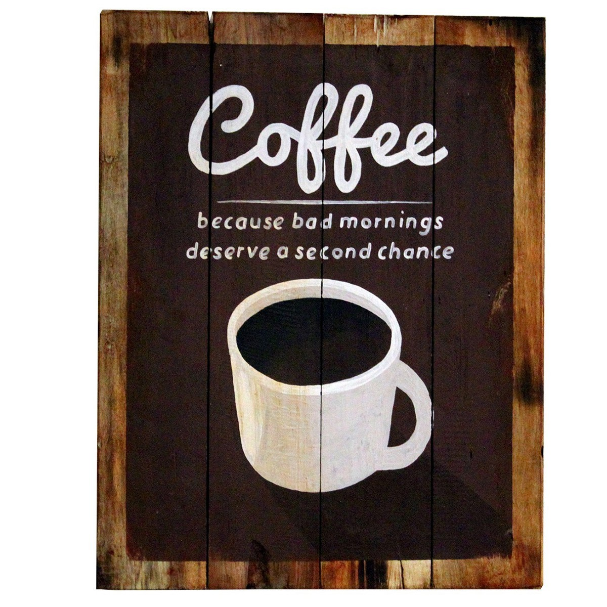 Træskilt med kaffe