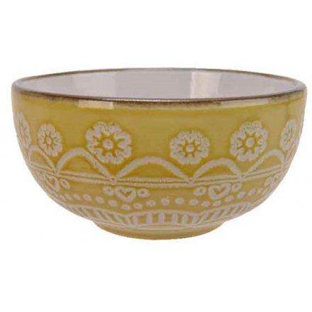 Mandala skål i porcelæn, gul