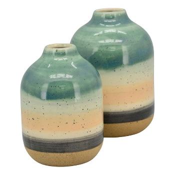 Vase i keramik, med striber