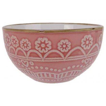 Mandala skål i porcelæn, pink