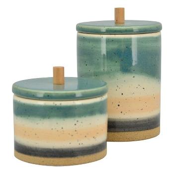 Krukke i keramik, 2 forskellige