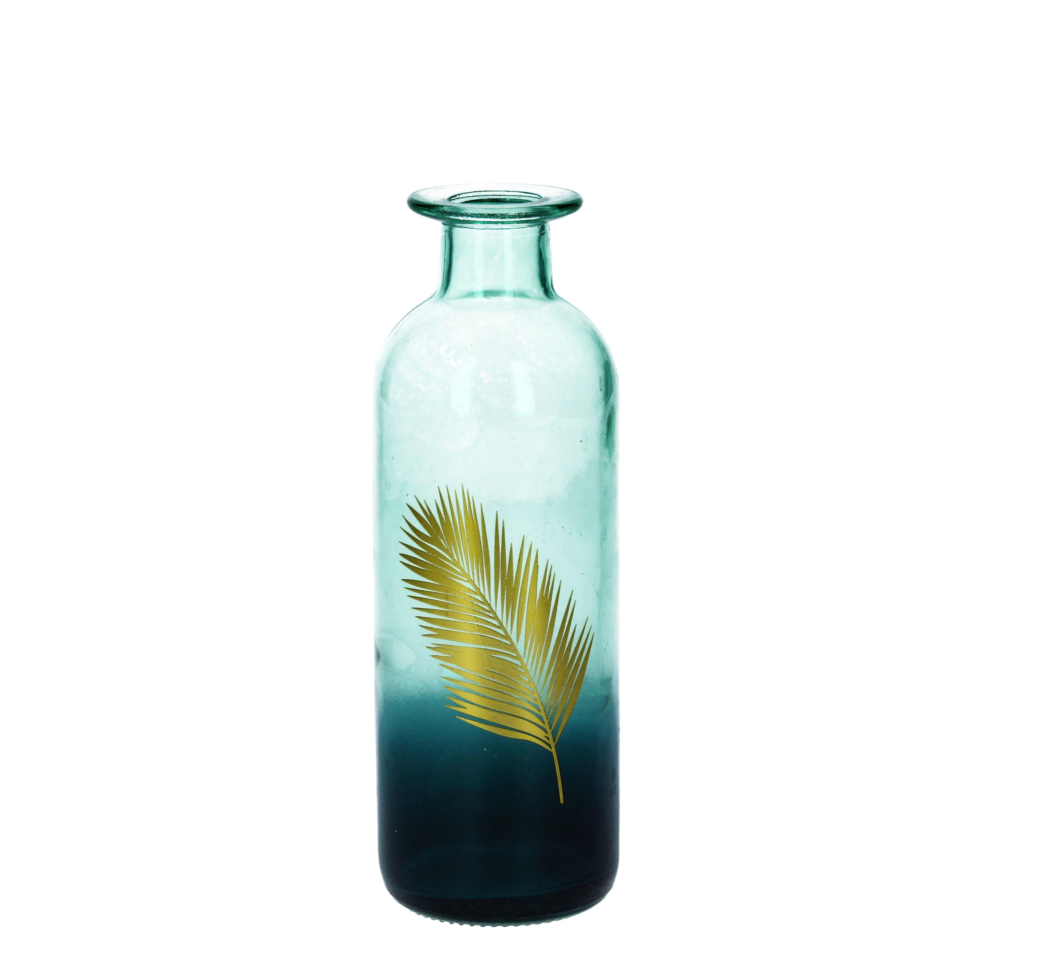 Glasvase med palmeblad