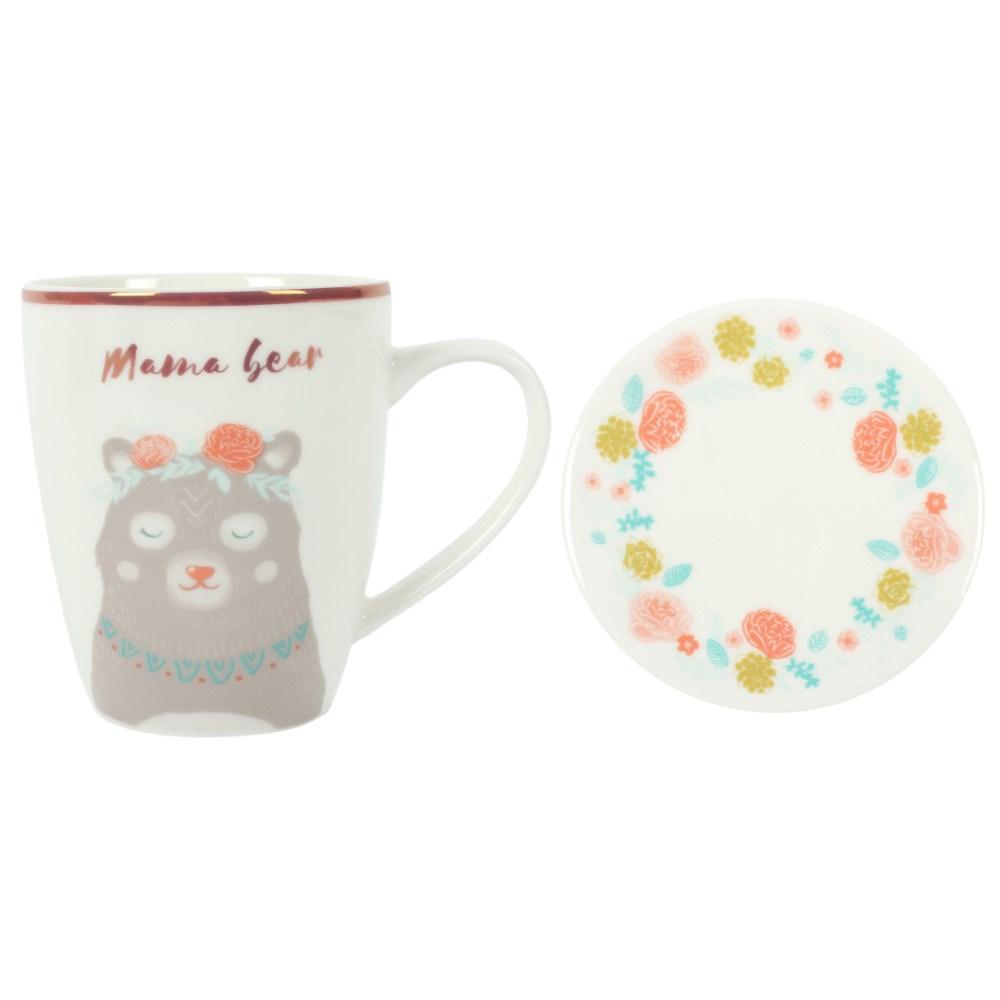 Krus m/coaster i porcelæn Mama Bear