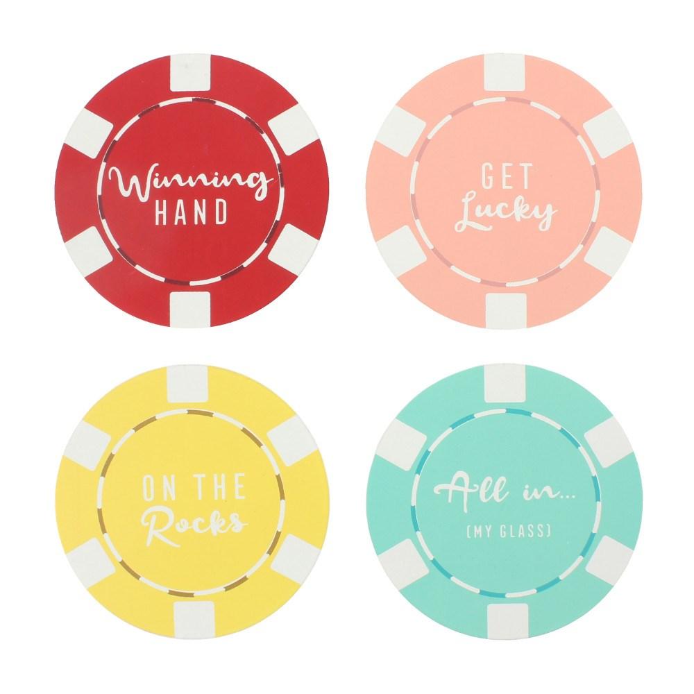 4-pak coasters Poker Chips