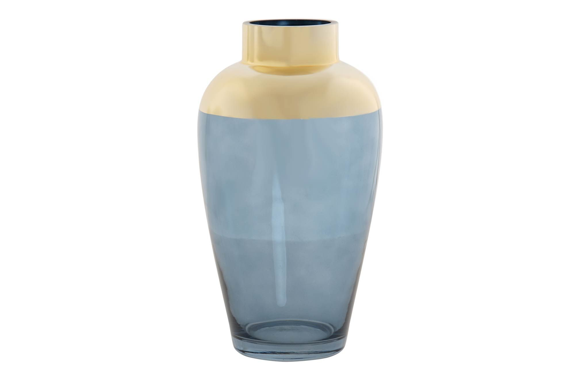 Glasvase i blå/guld