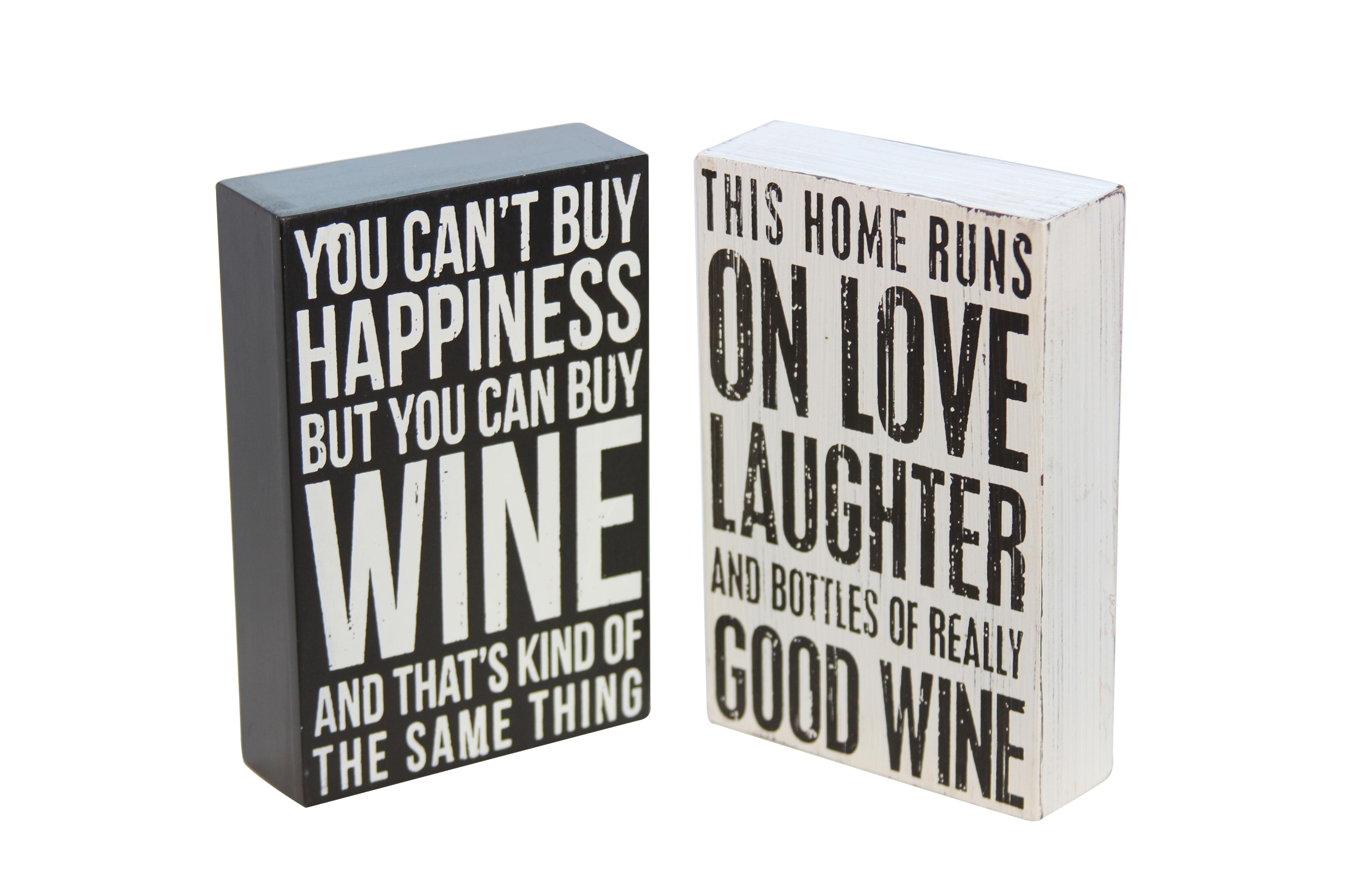 Træskilt med vin slogan