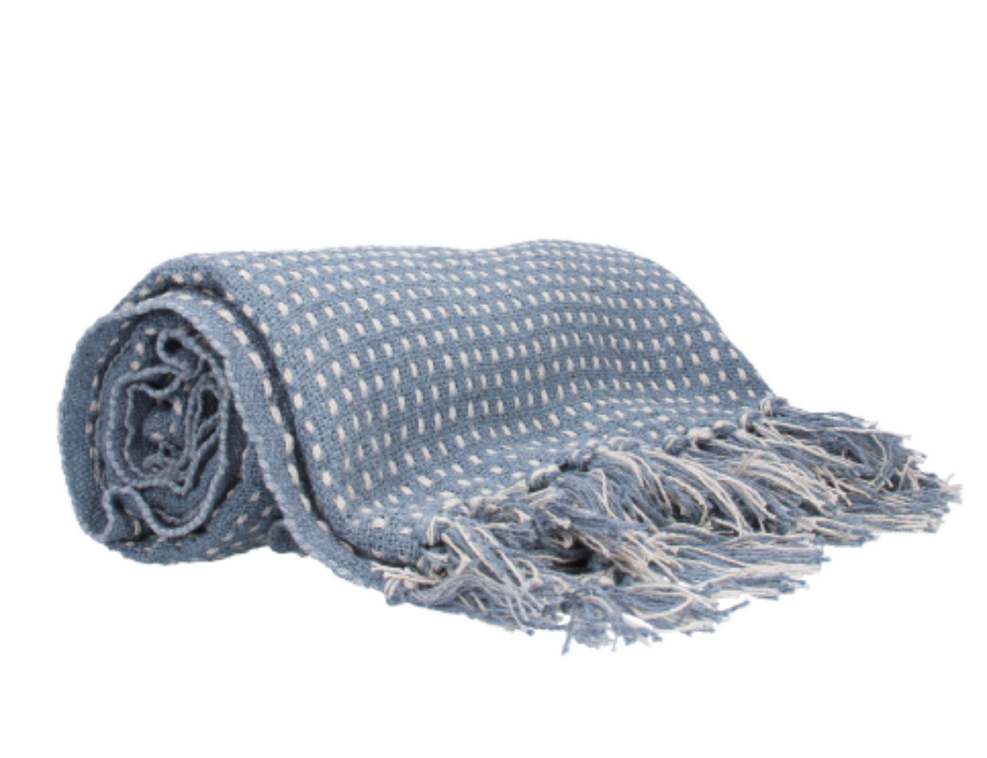 Plaid tæppe blå