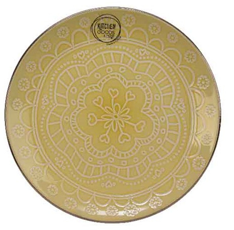 Mandala tallerken i porcelæn, gul