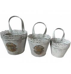 Hængepotter i metal 3 stk.