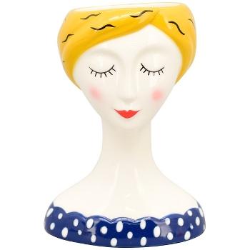 Vase i porcelæn m/blå bluse, MusH