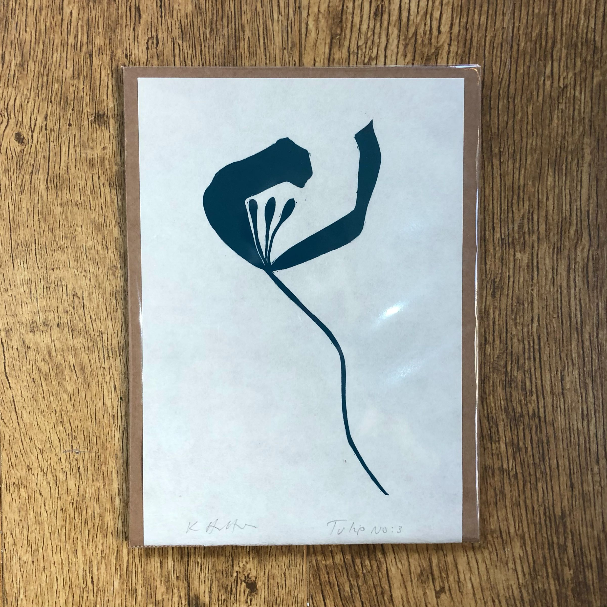 Tulip No. 3 single study lino print in Teal by Kathy Hutton