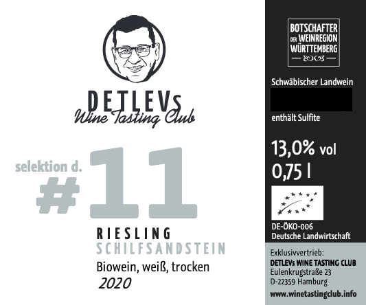 "DETLEVs ""selektion d."" No. 11 Riesling Schilfsandstein, Weiss, Jg. 2020, bio."