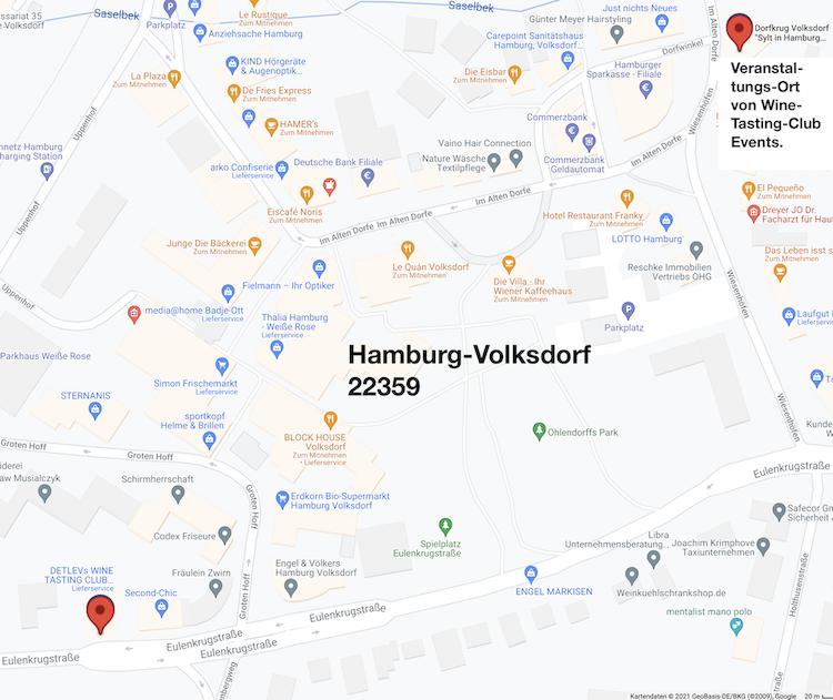 """- Event - 26.11.21 - """"3 Gänge Menü + 5 Weine"""" des prämierten VDP-Weinguts """"Fürst Hohenlohe"""" mit Kellermeister Joachim Brand im """"Dorfkrug Volksdorf"""", 19.00 Uhr"""
