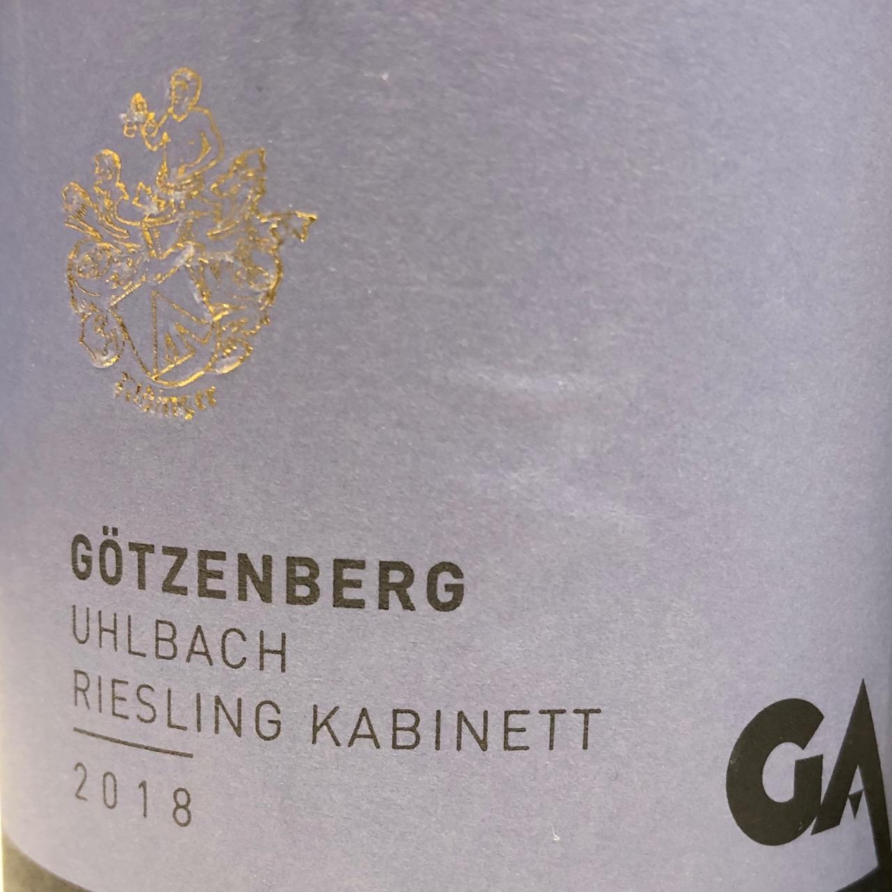 Aldinger Uhlbacher Götzenberg Riesling Kabinett Grosse Lage 2018
