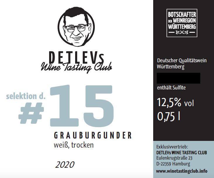 """DETLEVs """"selektion d."""" No. 15 Grauburgunder, Weiss, Jg. 2020"""