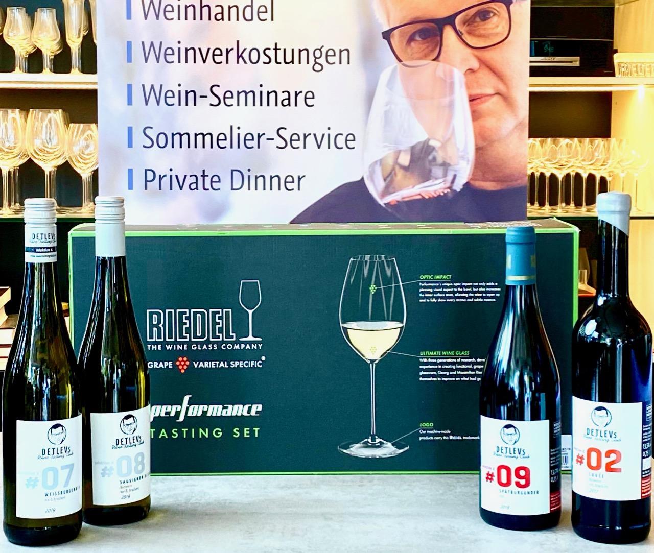 """DETLEVs L """"Wein und Riedel-Glas""""-Hometastingpaket: 4 GUTSWEINE. 8 RIEDEL-GLÄSER.  EXKLUSIVES """"How to""""-VIDEO."""