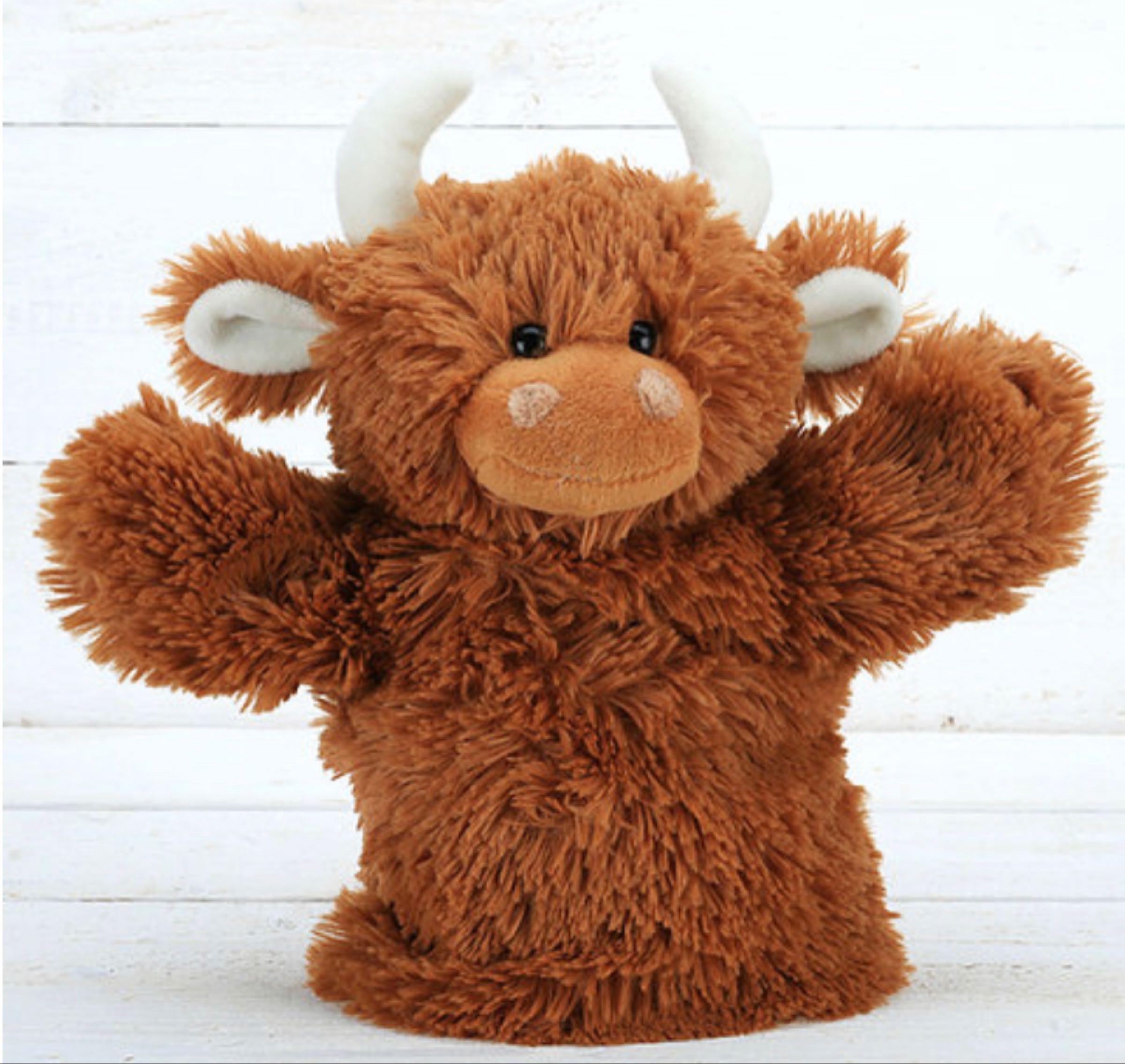Jomanda highland cow hand puppet 23cm
