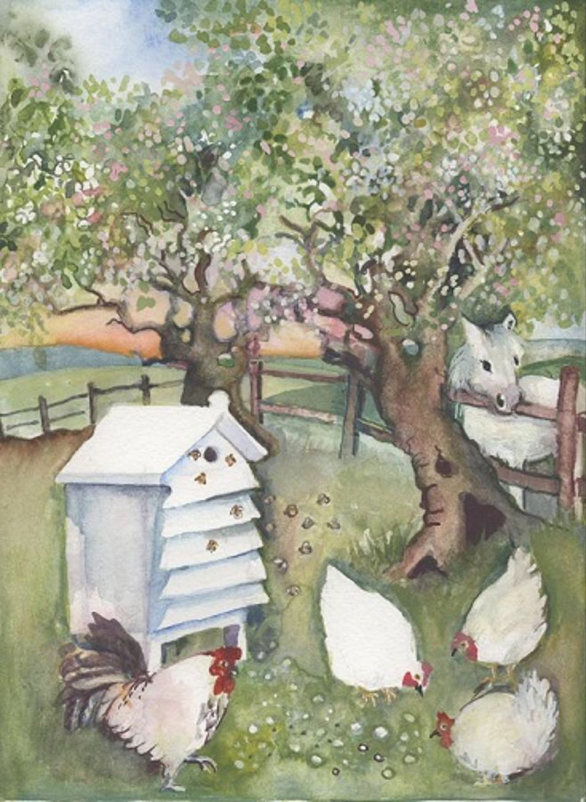 'Bees, Blossom & Chickens' Furzedown Gallery Mini Card