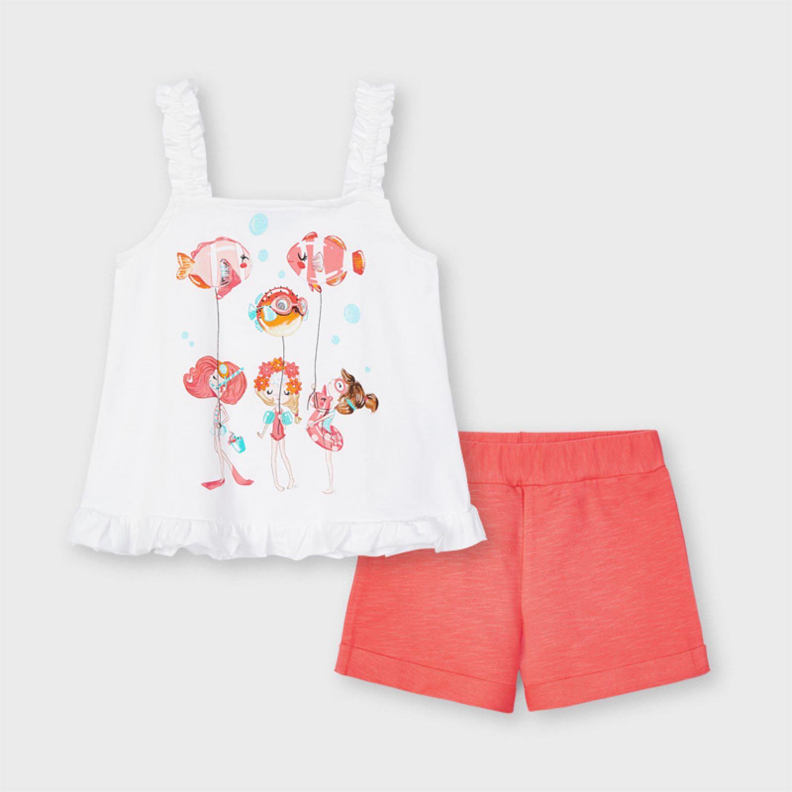 MAYORAL GIRLS Knit Shorts Set with Shirt 3219-51