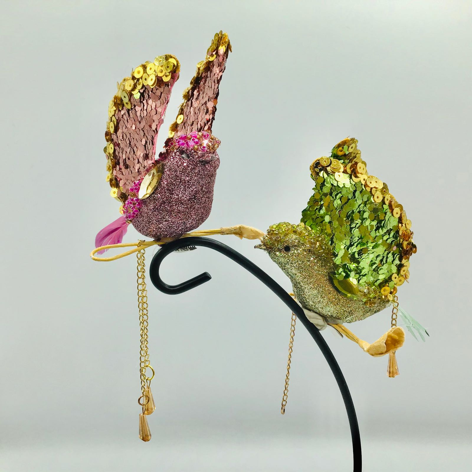 Glitzy Pair of Birds - Green and Pink