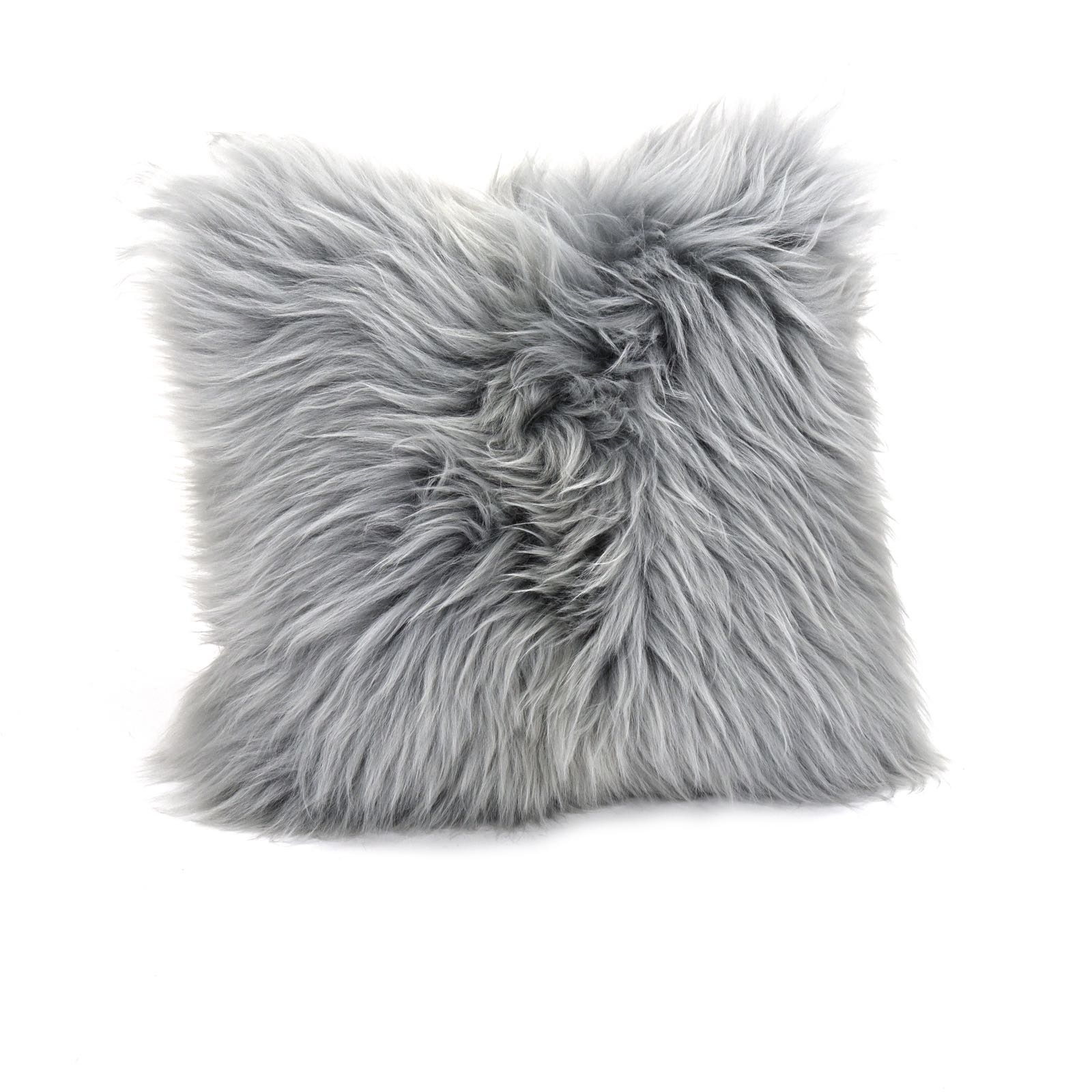 Baa Stool square sheepskin cushion in silver approx 45cm x 45cm