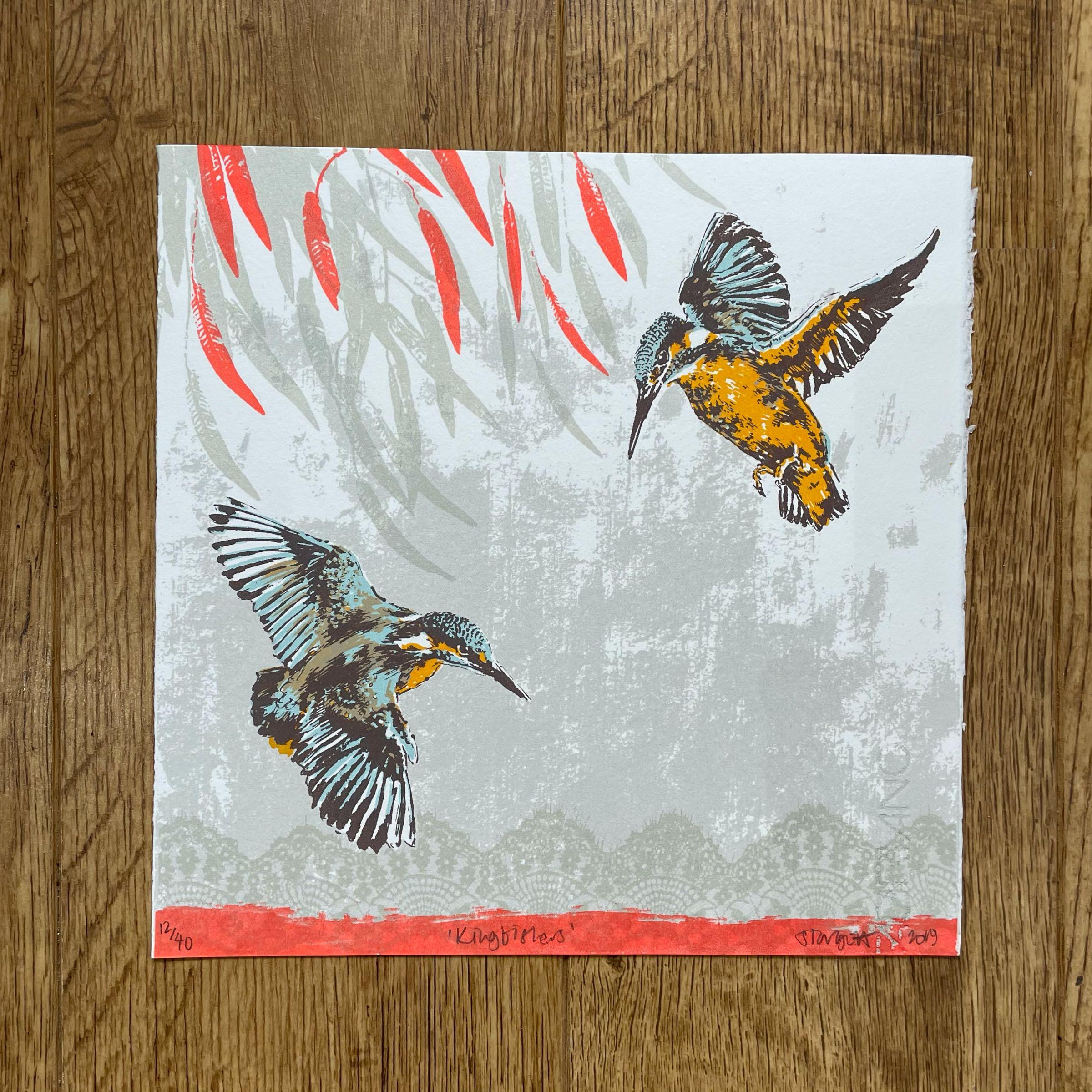 'Kingfishers' Silkscreen print by Sarah Targett