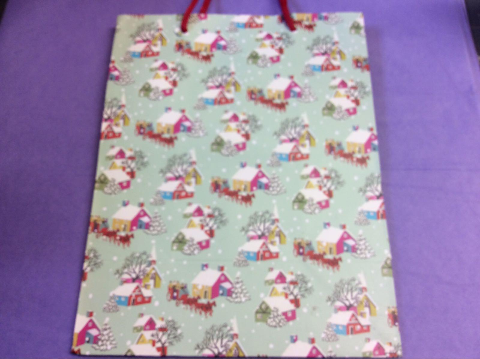 Retro Christmas Houses Gift Bag