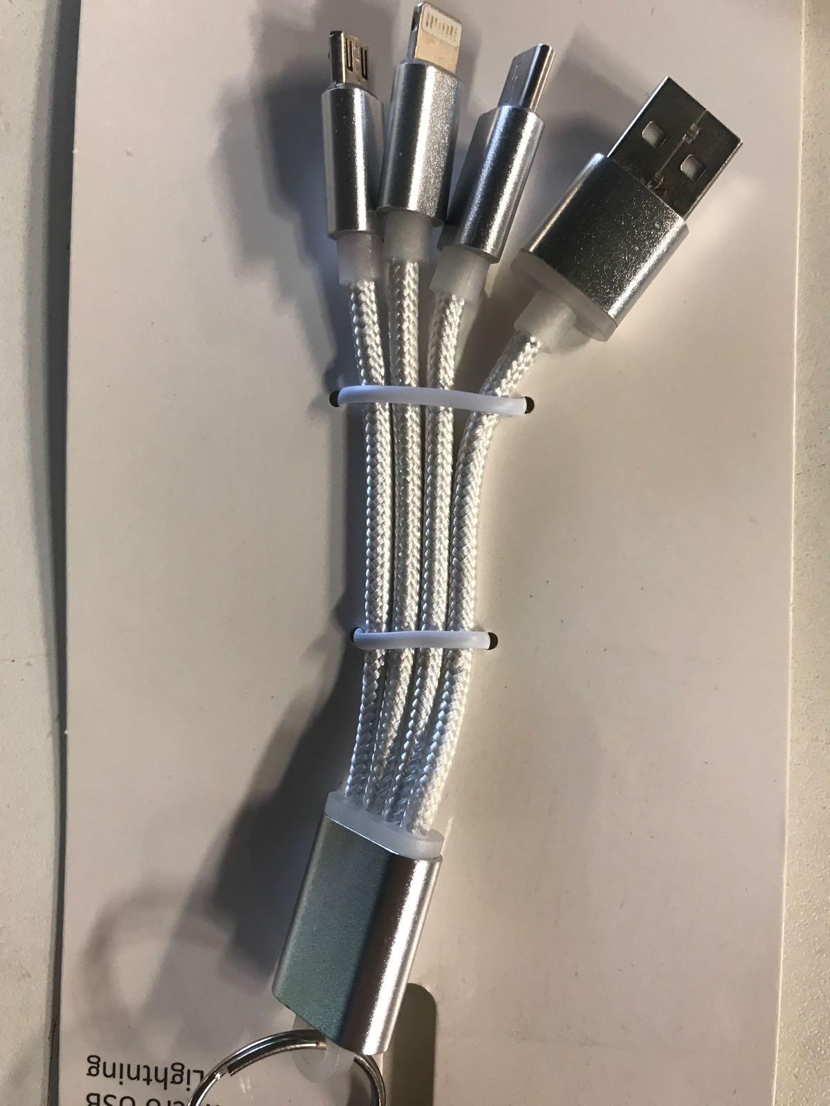 Nyckelring med 4 olika laddsladdar