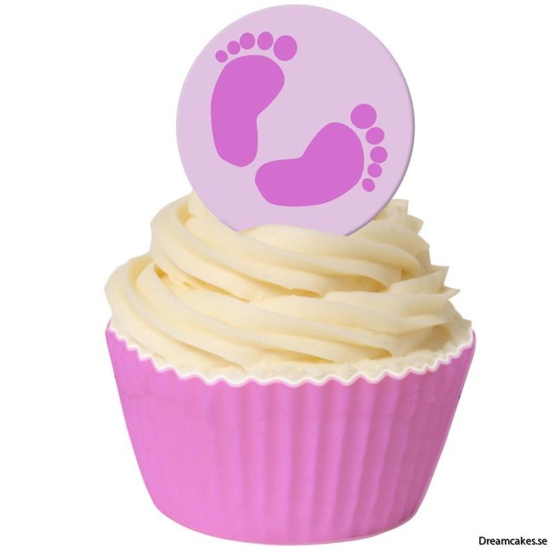 Oblatdekor - Rosa babyfötter