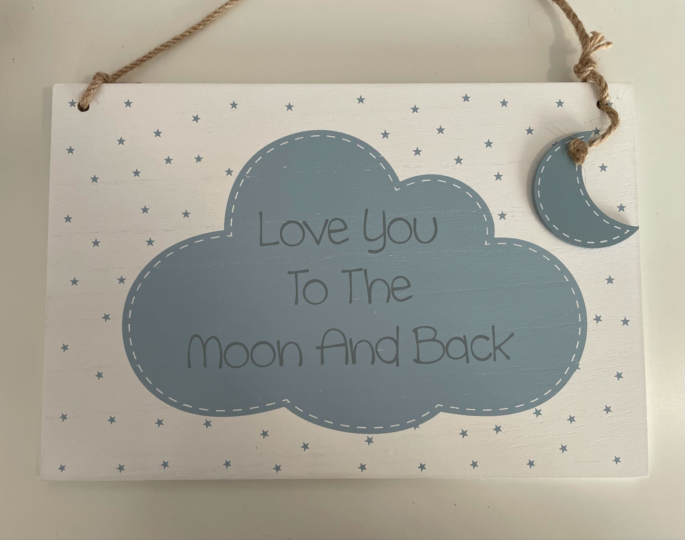 Love you to the moon and back  large baby plaque. Blue