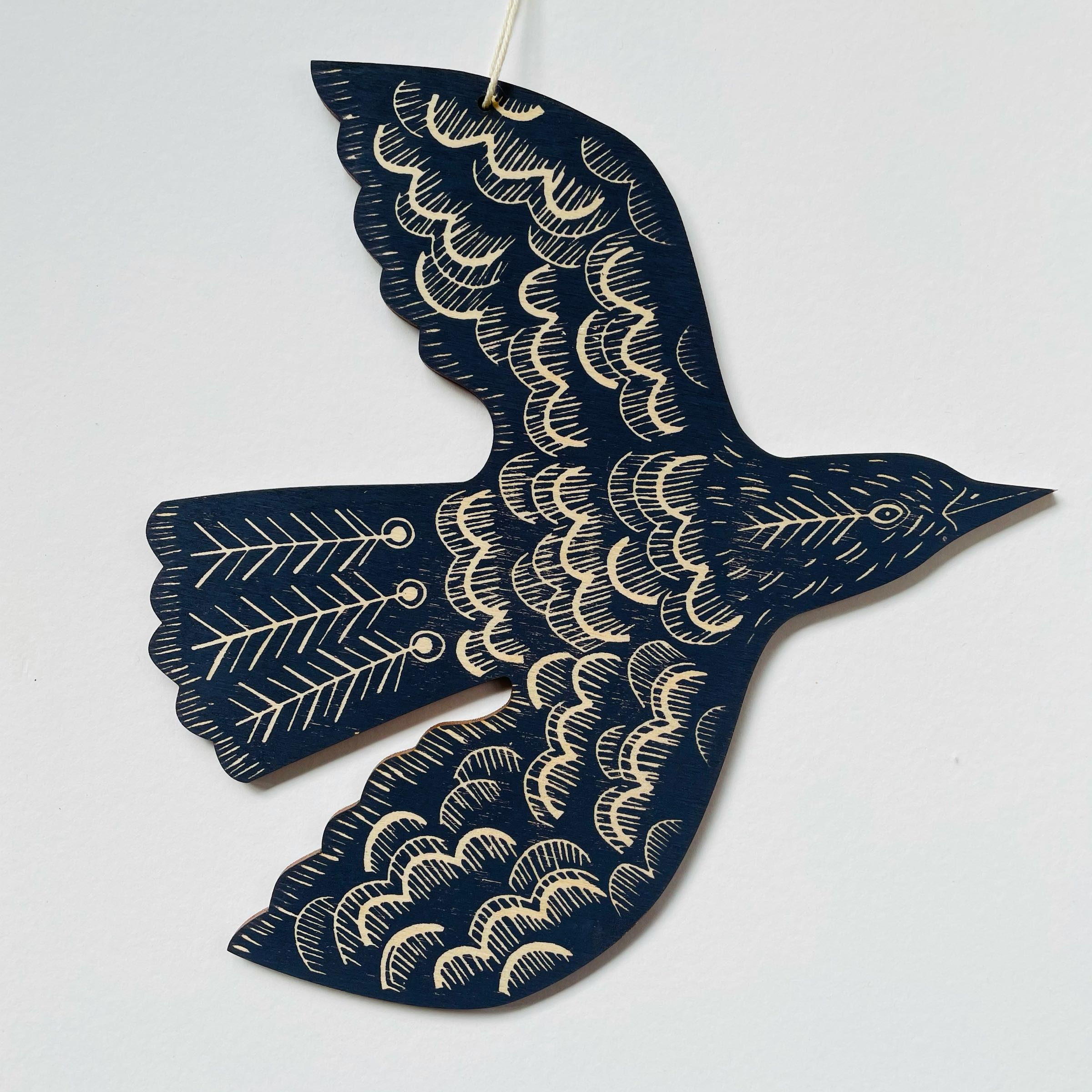Blackbird hanging bird by Kate Millbank, brassica purple-grey
