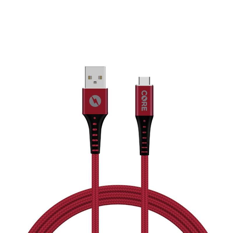 CORE 1.5M Braided USB-C Cable 2.1A Red