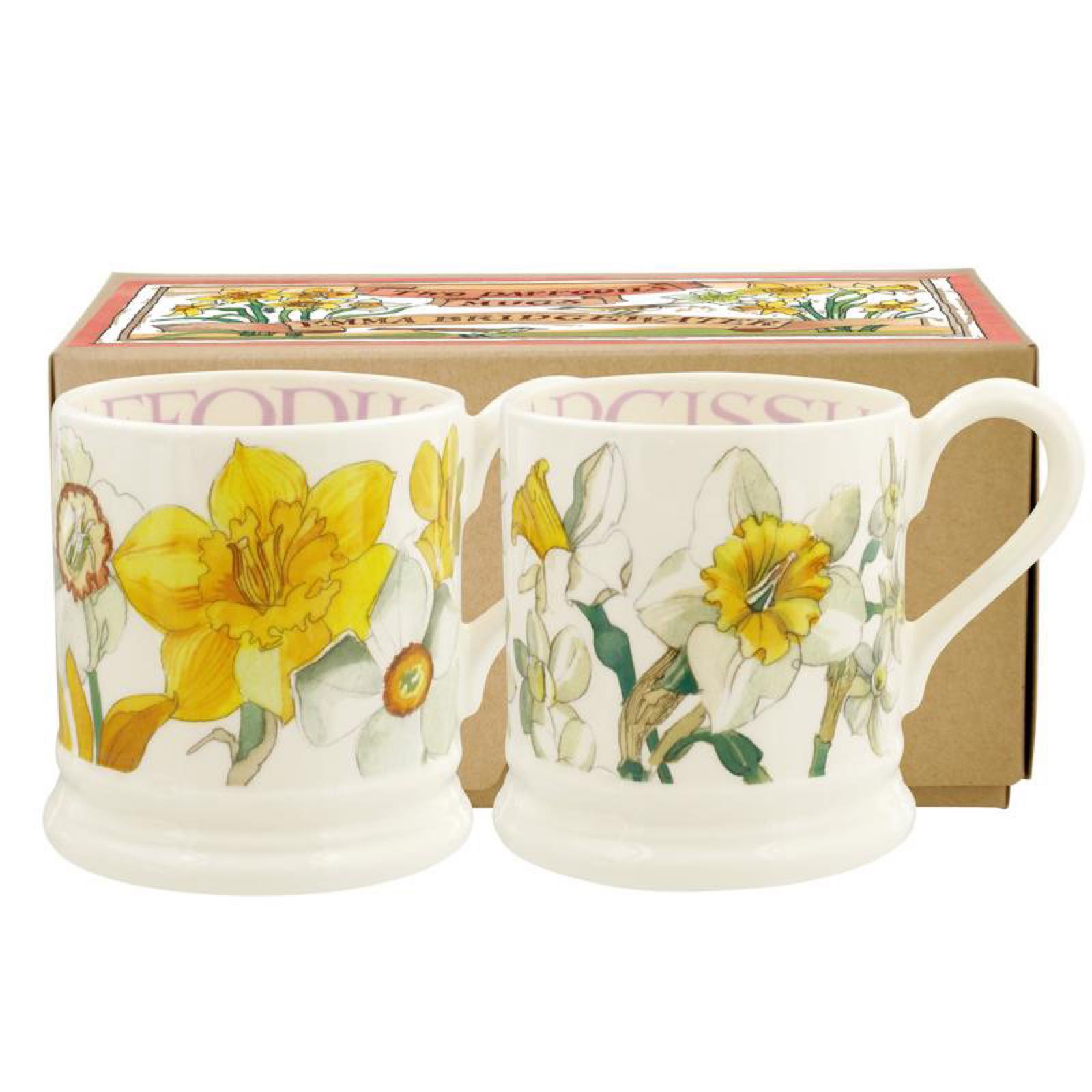 Emma Bridgewater Flowers Daffodils & Narcissus Set of 2 1/2 Pint Mugs Boxed