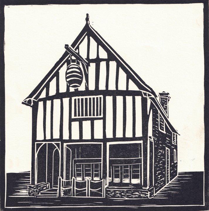 Medieval Merchants House Linocut Print by Carole Westbrook