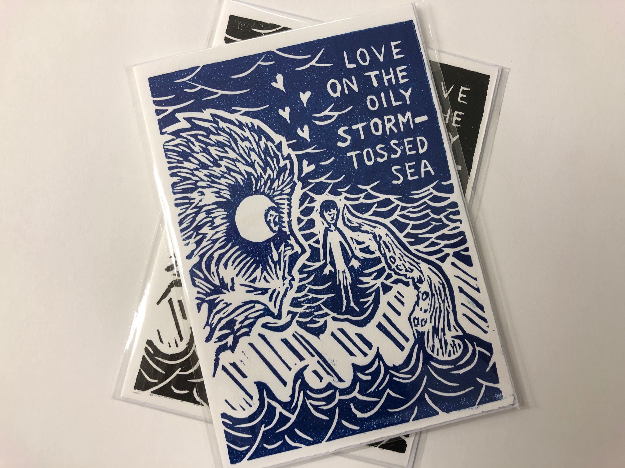 Linocut Greetings Card by Dave Hubble