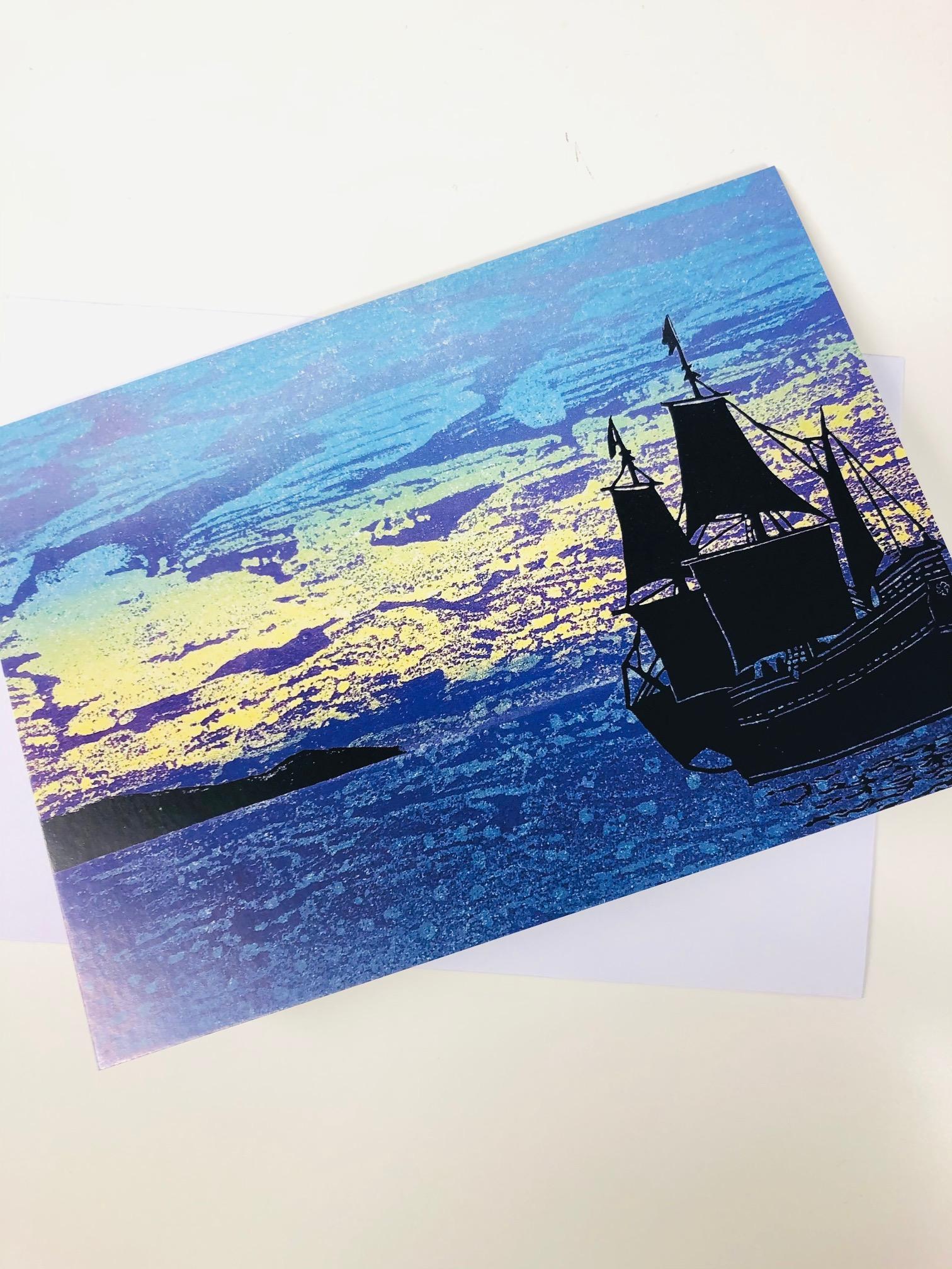 'Approaching Cod Bay' Greetings Card by Barbara Hamilton