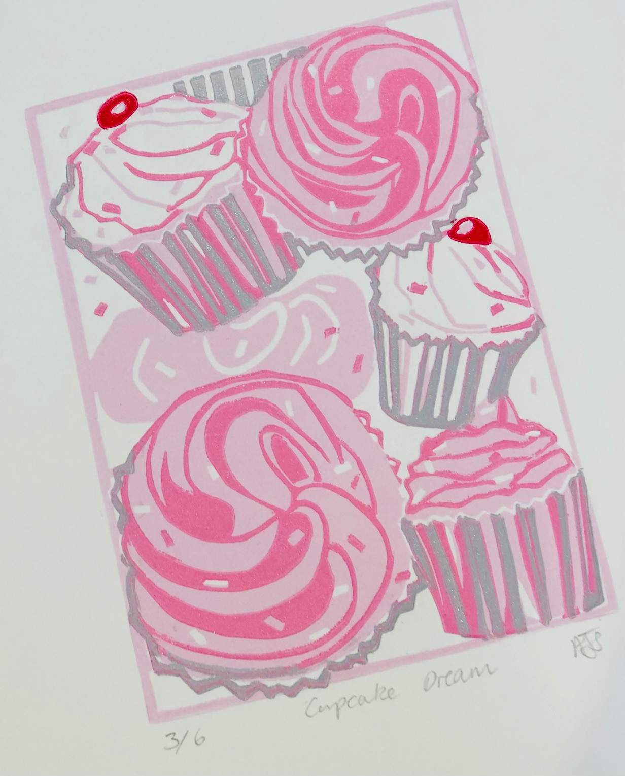 'Cupcake Dream' Limited Edition Reduction Lino Print by Mandy Smith