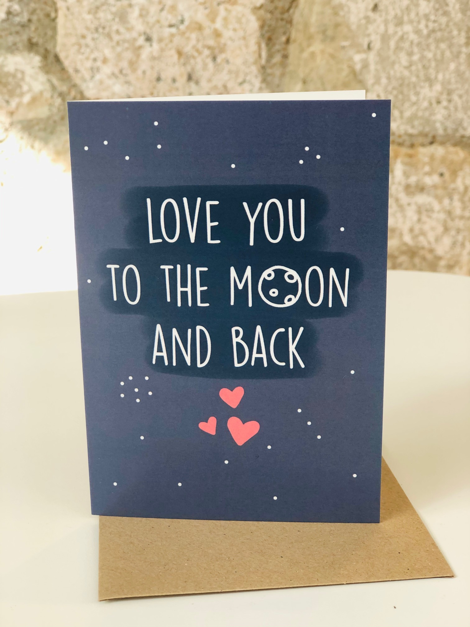 'Love You to the Moon and Back' greetings card by Emma