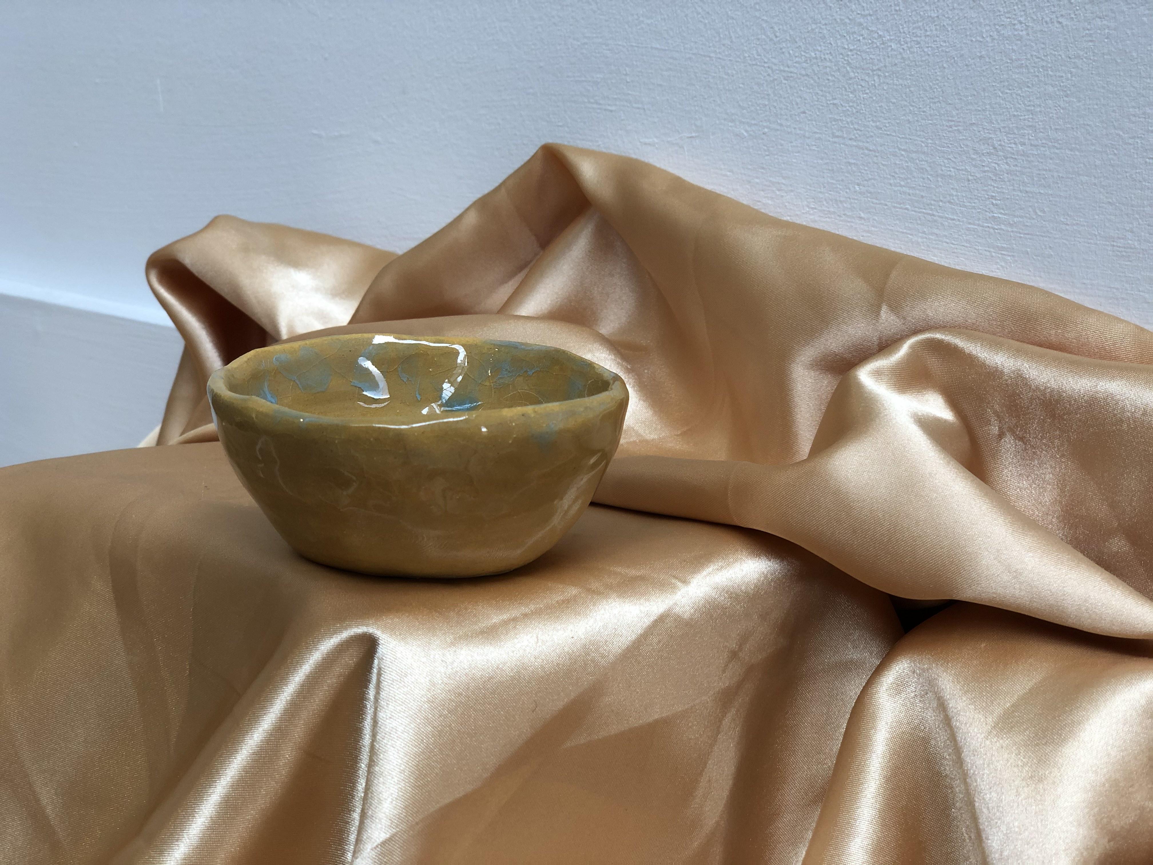 Medium Yellow and Blue Ceramic Bowl by Alex Sutherland