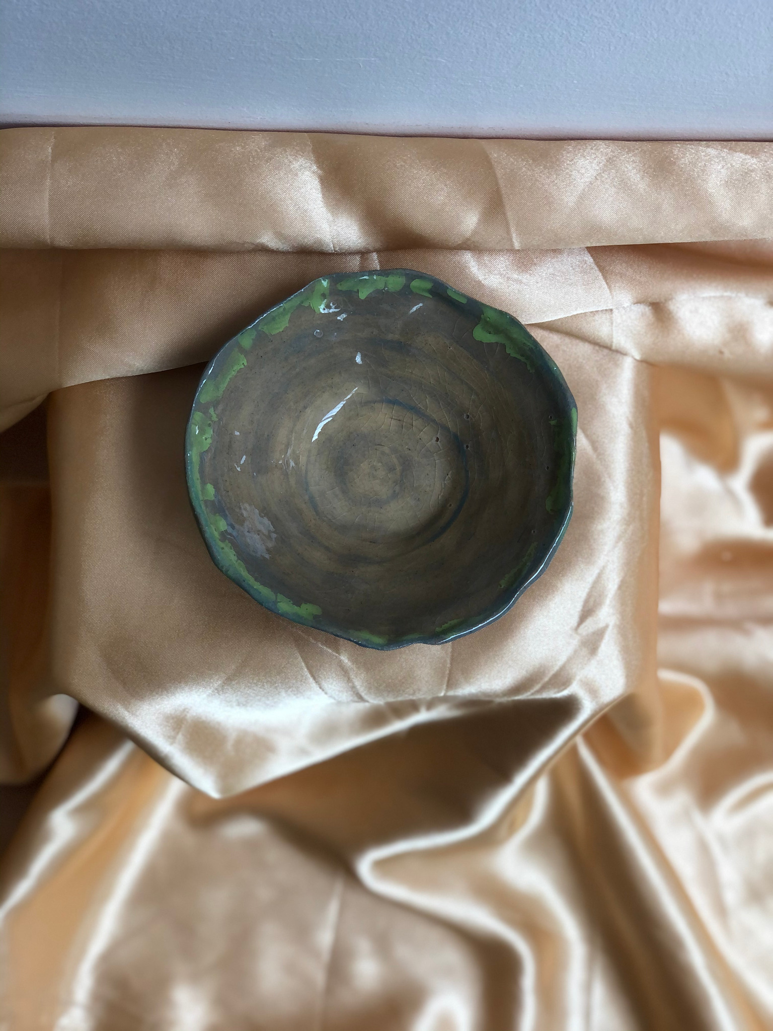 Large Blue and Green Ceramic Bowl