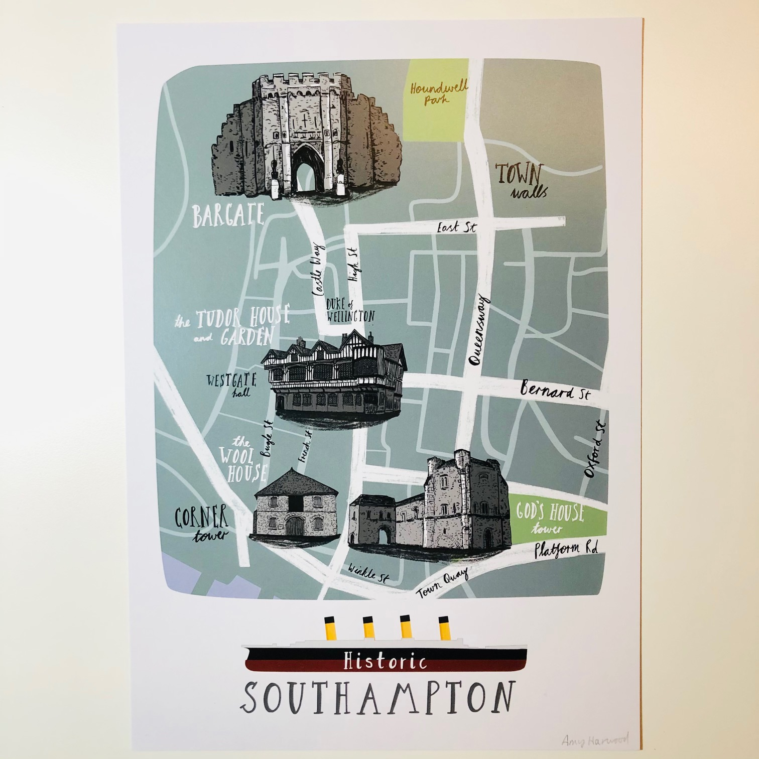 Illustrated Map of Southampton by Amy Harwood