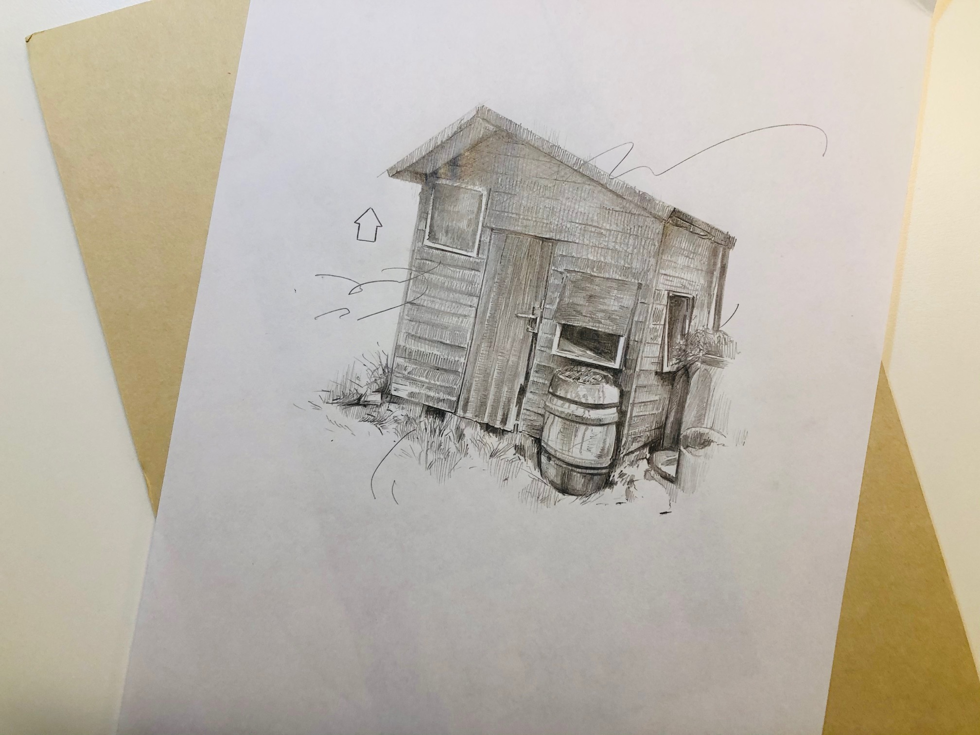 'Shed' drawing by Jade Anthony