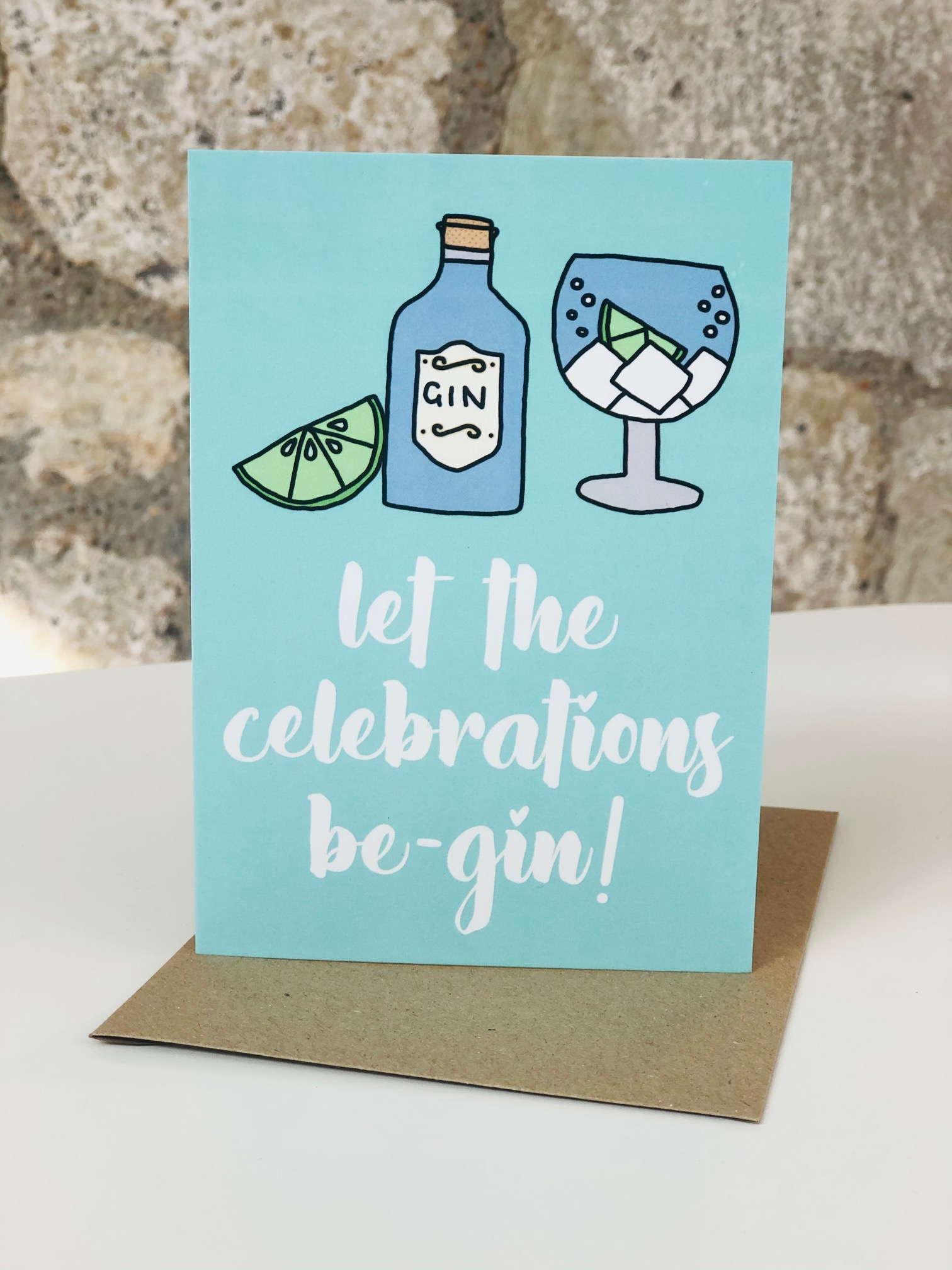 'Celebrations Be-Gin' Greetings Card by Emma
