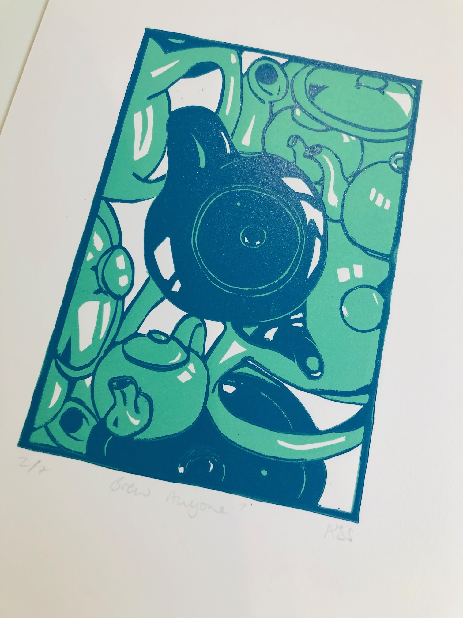 'Brew Anyone?' Limited Edition Reduction Lino Print by Mandy Smith