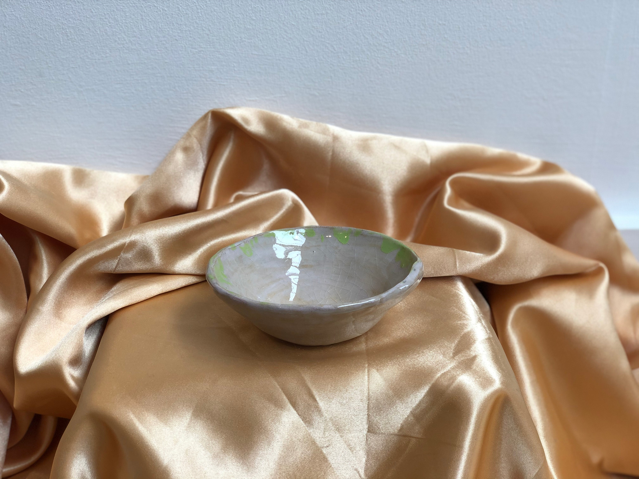 Large Pink and Green Ceramic Bowl by Alex Sutherland