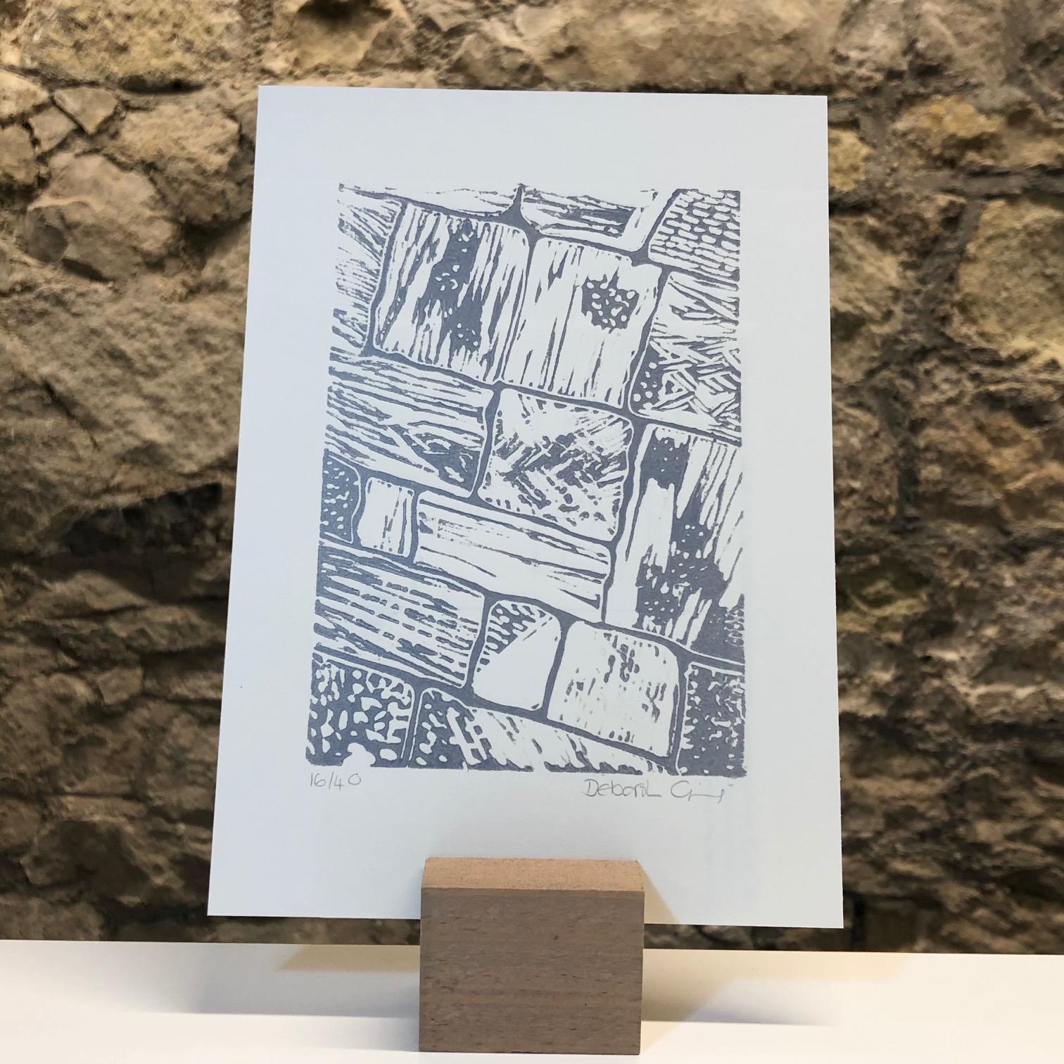 'Flagstones 1' Linocut Mini Print by Deborah Gearing