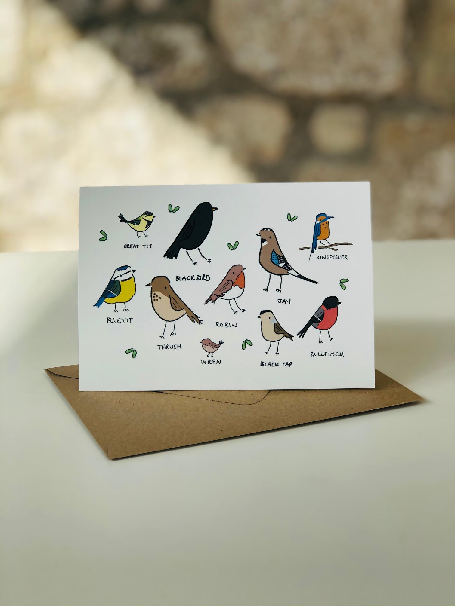 Garden Birds Greetings Card by Emma
