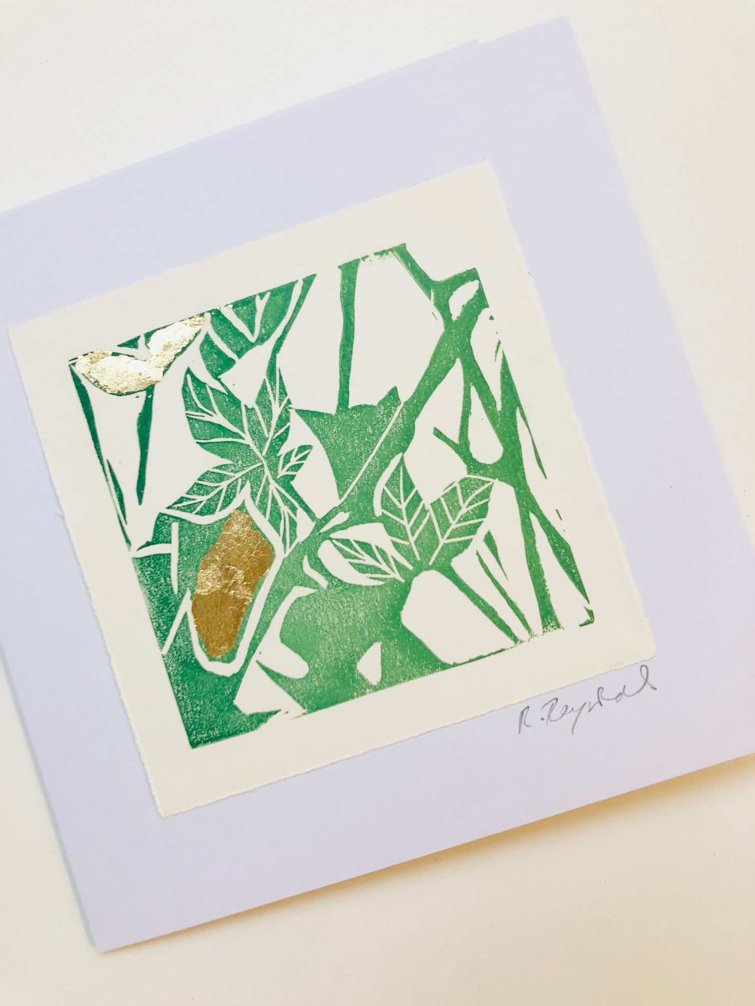 Handprinted Lino Cut Greetings Card by Rachel Reynolds